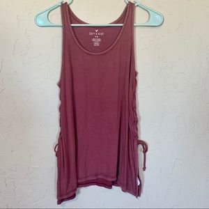 AE soft and sexy ribbed tank with braids down side